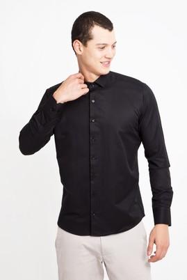 Erkek Giyim - SİYAH XS Beden Uzun Kol Desenli Slim Fit Gömlek