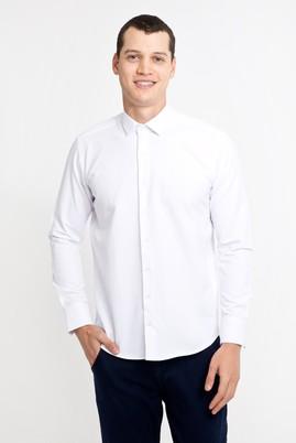 Erkek Giyim - BEYAZ XL Beden Uzun Kol Desenli Slim Fit Gömlek