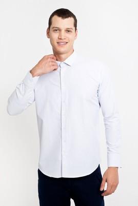 Erkek Giyim - BEYAZ M Beden Uzun Kol Kareli Slim Fit Gömlek