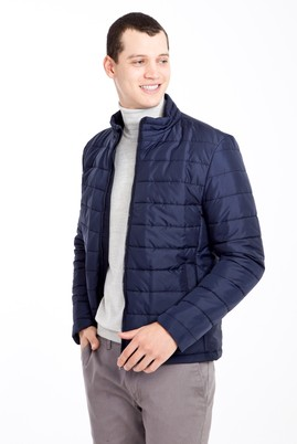 Erkek Giyim - LACİVERT L Beden Slim Fit Kapitone Mont