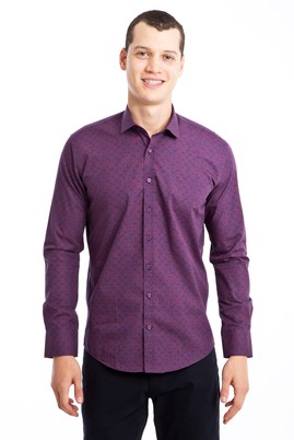 Erkek Giyim - BORDO L Beden Uzun Kol Desenli Slim Fit Gömlek