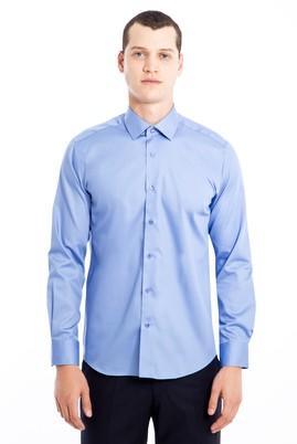 Erkek Giyim - MAVİ L Beden Uzun Kol Non Iron Saten Slim Fit Gömlek