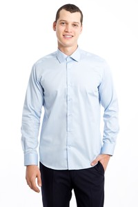 Erkek Giyim - Uzun Kol Non Iron Slim Fit Saten Gömlek