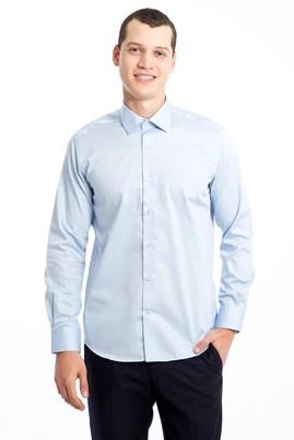 Erkek Giyim - AÇIK MAVİ XL Beden Uzun Kol Non Iron Saten Slim Fit Gömlek