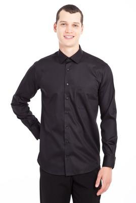 Erkek Giyim - SİYAH 3X Beden Uzun Kol Non Iron Saten Klasik Gömlek