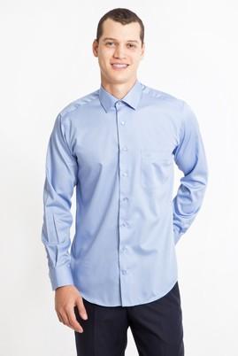 Erkek Giyim - MAVİ L Beden Uzun Kol Non Iron Saten Klasik Gömlek