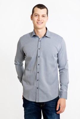 Erkek Giyim - ORTA FÜME L Beden Uzun Kol Tasarım Slim Fit Gömlek