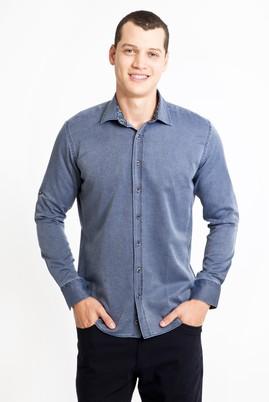 Erkek Giyim - LACİVERT XS Beden Uzun Kol Tasarım Slim Fit Gömlek
