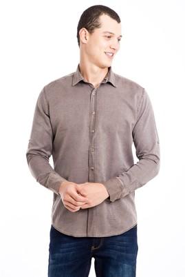 Erkek Giyim - KAHVE L Beden Uzun Kol Tasarım Slim Fit Gömlek