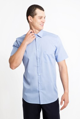 Erkek Giyim - MAVİ M Beden Kısa Kol Regular Fit Gömlek