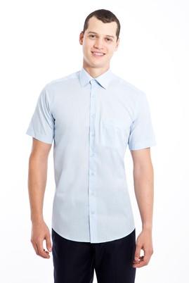 Erkek Giyim - AÇIK MAVİ XL Beden Kısa Kol Klasik Gömlek