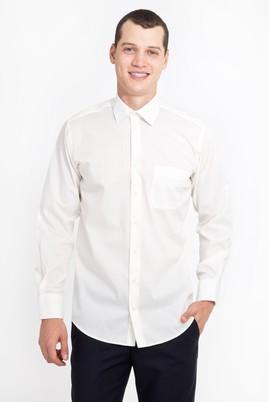 Erkek Giyim - KREM XXL Beden Uzun Kol Klasik Gömlek