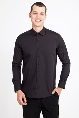 Erkek Giyim - SİYAH XXL Beden Uzun Kol Slim Fit Gömlek