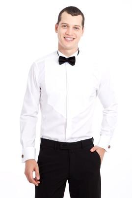 Erkek Giyim - BEYAZ M Beden Ata Yaka Desenli Slim Fit Gömlek