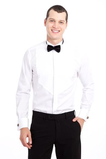 Erkek Giyim - Ata Yaka Desenli Slim Fit Gömlek