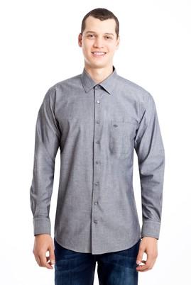 Erkek Giyim - SİYAH L Beden Uzun Kol Desenli Klasik Gömlek