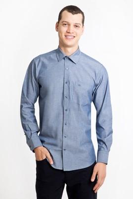 Erkek Giyim - LACİVERT XL Beden Uzun Kol Desenli Klasik Gömlek