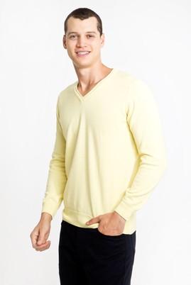 Erkek Giyim - SARI M Beden V Yaka Regular Fit Triko