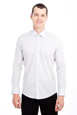 Erkek Giyim - AÇIK GRİ S Beden Uzun Kol Slim Fit Gömlek