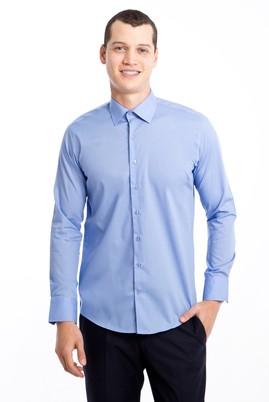 Erkek Giyim - MAVİ L Beden Uzun Kol Slim Fit Gömlek
