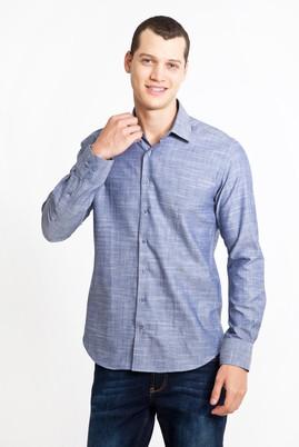 Erkek Giyim - LACİVERT M Beden Uzun Kol Desenli Slim Fit Gömlek