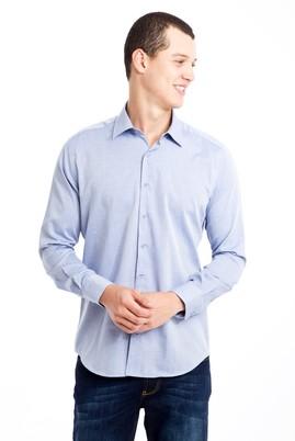 Erkek Giyim - MAVİ S Beden Uzun Kol Desenli Slim Fit Gömlek