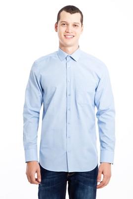 Erkek Giyim - AÇIK MAVİ XL Beden Uzun Kol Desenli Klasik Gömlek