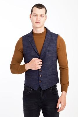 Erkek Giyim - LACİVERT 52 Beden Slim Fit Ekose Yelek