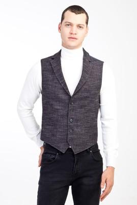 Erkek Giyim - ANTRASİT 46 Beden Slim Fit Ekose Yelek