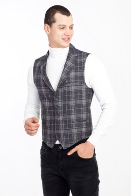 Erkek Giyim - SİYAH 52 Beden Slim Fit Ekose Yelek
