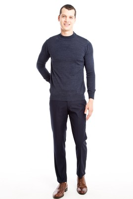 Erkek Giyim - LACİVERT 52 Beden Slim Fit Klasik Pantolon
