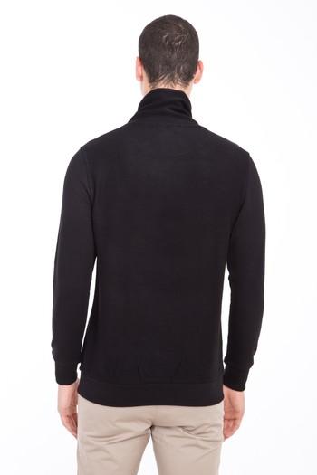 Erkek Giyim - Balıkçı Yaka Baskılı Slim Fit Sweatshirt