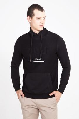 Erkek Giyim - SİYAH XXL Beden Balıkçı Yaka Baskılı Slim Fit Sweatshirt