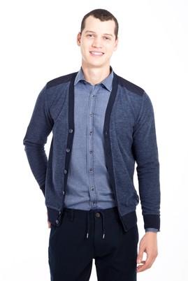 Erkek Giyim - SİYAH XXL Beden Düğmeli Desenli Slim Fit Sweatshirt