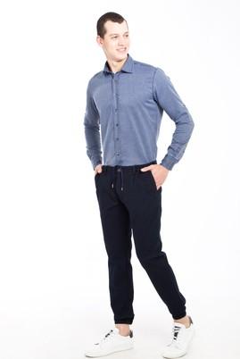 Erkek Giyim - KOYU MAVİ 50 Beden Süper Slim Fit Kuşgözü Spor Pantolon