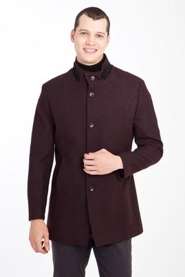 Erkek Giyim - BORDO L Beden Yünlü Desenli Kaban