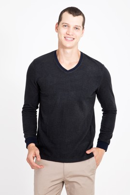 Erkek Giyim - LACİVERT XXL Beden V Yaka Desenli Slim Fit Sweatshirt