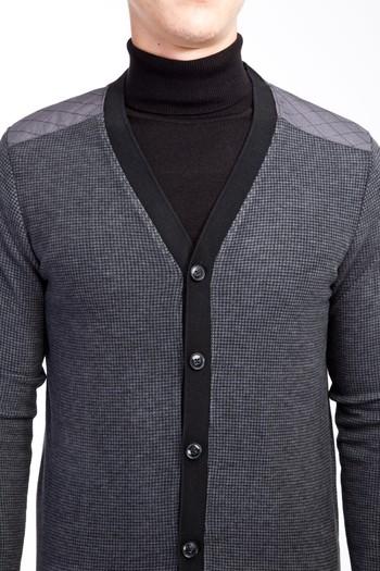 Erkek Giyim - Düğmeli Desenli Slim Fit Sweatshirt
