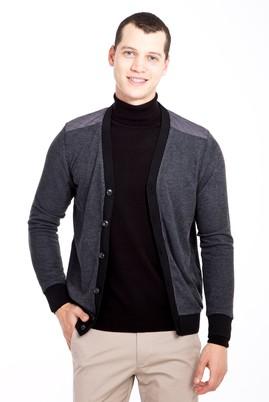 Erkek Giyim - ANTRASİT XL Beden Düğmeli Desenli Slim Fit Sweatshirt