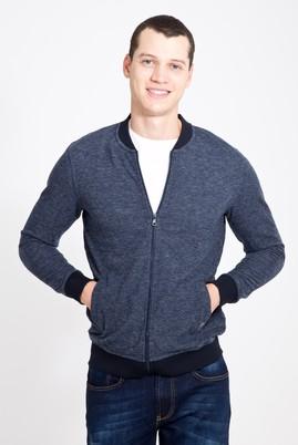 Erkek Giyim - LACİVERT XL Beden Fermuarlı Desenli Slim Fit Sweatshirt