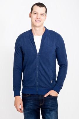 Erkek Giyim - MAVİ L Beden Fermuarlı Desenli Slim Fit Sweatshirt