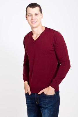 Erkek Giyim - BORDO M Beden V Yaka Regular Fit Triko Kazak