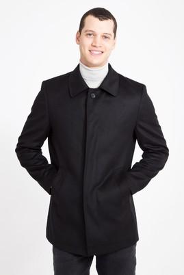 Erkek Giyim - SİYAH 48 Beden Slim Fit Yünlü Kaban