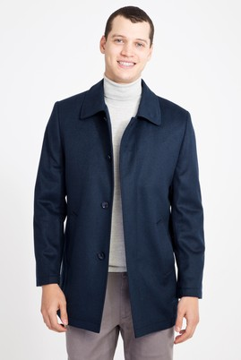 Erkek Giyim - MAVİ 46 Beden Slim Fit Yünlü Kaban