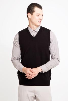 Erkek Giyim - SİYAH XL Beden V Yaka Süveter