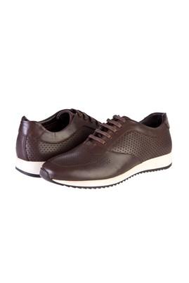 Erkek Giyim - KAHVE 44 Beden Spor Bağcıklı Deri Ayakkabı