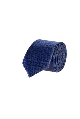 Erkek Giyim - Lacivert 65 Beden Desenli İnce Kravat