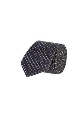 Erkek Giyim - Siyah 65 Beden Desenli İnce Kravat
