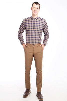Erkek Giyim - Açık Kahve - Camel 46 Beden Slim Fit Desenli Spor Pantolon