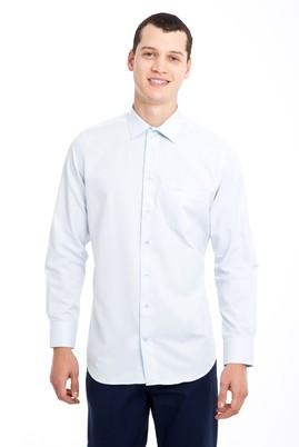 Erkek Giyim - AÇIK MAVİ 3X Beden Uzun Kol Desenli Gömlek
